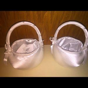 White Satin Wedding baskets for flower girls
